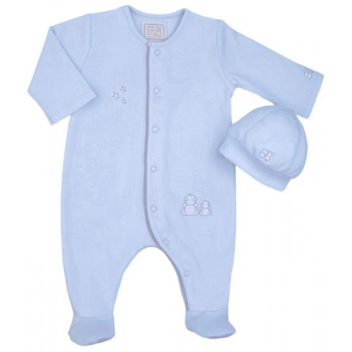 1ee74077137 Emile et Rose Grey and Blue Babygrow with Hat